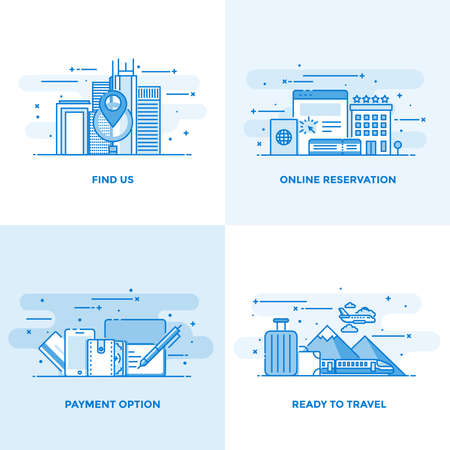 find: Modern flat color line designed concepts icons for Find us, Online Reservation, Payment Option and Ready to Travel. Can be used for Web Project and Applications. Vector Illustration Illustration