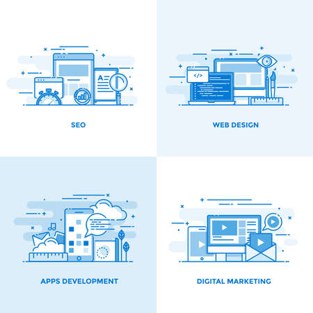 Línea de color plana moderna diseñó iconos de conceptos para Seo, diseño web, desarrollo de aplicaciones y marketing digital. Se puede utilizar para proyectos y aplicaciones web. Ilustración vectorial Foto de archivo - 74104063