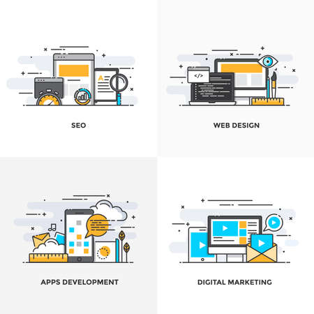 web development: Modern flat color line designed concepts icons for Seo, Web Design, Apps Development and Digital Marketing. Can be used for Web Project and Applications. Vector Illustration