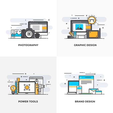 Moderne Flach Farbe Linie entworfen Konzepte Icons für Fotografie, Grafikdesign, Power Tools und Brand Design. Kann für Web Project und Anwendungen verwendet werden. Vector Illustration Standard-Bild - 75067507