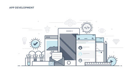mobile application: Modern Flat Line Color hero image of Apps Development for website and mobile website, easy to use and highly customizable. Illustration
