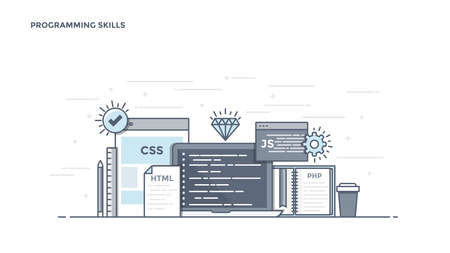 Modern Flat Line Color hero image of Programming Skills for website and mobile website, easy to use and highly customizable. Ilustração Vetorial