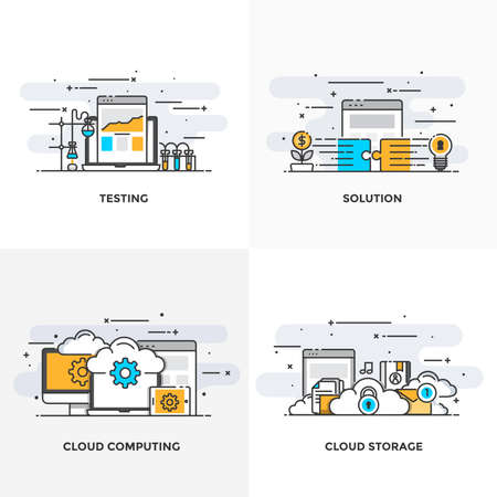 global communication: Modern flat color line designed concepts icons for Testing, Solution, Cloud Computing and Cloud Storage. Can be used for Web Project and Applications. Vector Illustration Illustration