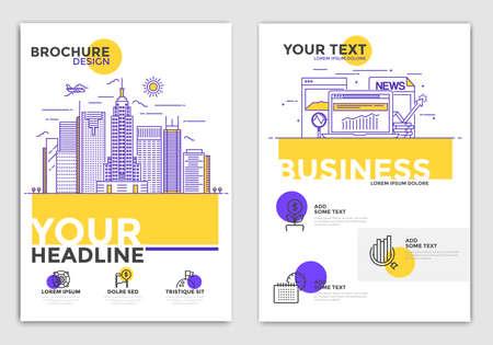 Business Brochure Design Layout Template en tamaño A4 con iconos conceptuales. Formas geométricas, fondos modernos abstractos, concepto de infografía. Diseño de color de línea plana moderna. Vector Foto de archivo - 76764087