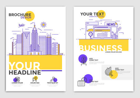 Business Brochure Design Layout Template in A4 size with conceptual icons. Geometric shapes, Abstract Modern Backgrounds, Infographic Concept. Modern Flat Line color design. Vector