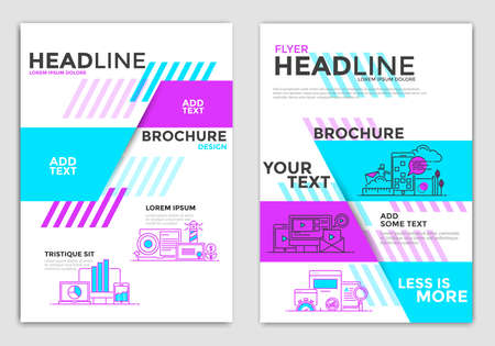 Modern Business Brochure Design Layout Template in A4 size with conceptual icons. Geometric shapes, Abstract Modern Backgrounds, Infographic Concept. Modern Flat Line color design. Vector