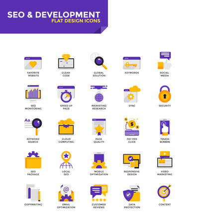 Modern Color Flat design icons for Seo and Development. Icons for web and app design, easy to use and highly customizable. Vector Ilustração