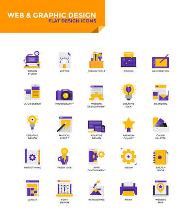 Modern Color Flat design icons for Web and Graphics Design. Icons for web and app design, easy to use and highly customizable. Vector Illustration