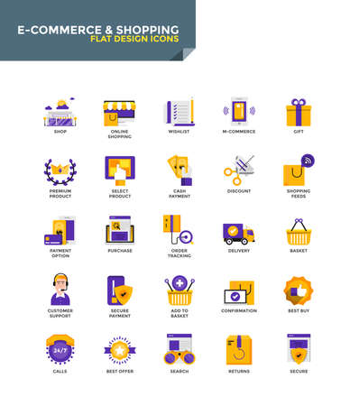 security symbol: Modern Color Flat design icons for E-Commerce and Shopping. Icons for web and app design, easy to use and highly customizable vector