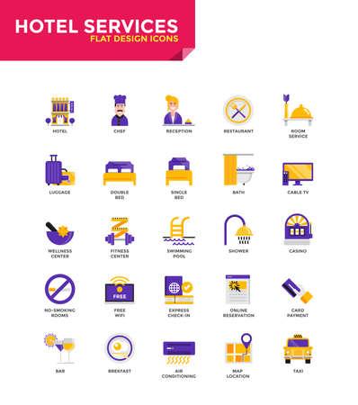 Modern Color Flat design iconen voor Hotel Services. Pictogrammen voor web- en appontwerp, makkelijk te gebruiken en zeer aanpasbaar. Vector