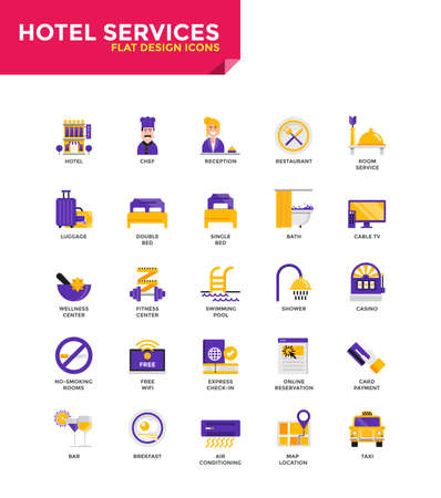 Modern Color Flat design icons for Hotel Services. Icons for web and app design, easy to use and highly customizable. Vector