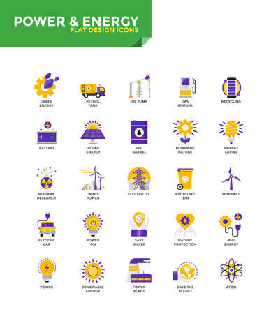 Modern Color Flat design icons for Power and Energy. Icons for web and app design, easy to use and highly customizable. Vector