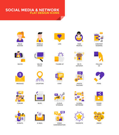 twit: Modern Color Flat design icons for Social Media and Network. Icons for web and app design, easy to use and highly customizable. Vector