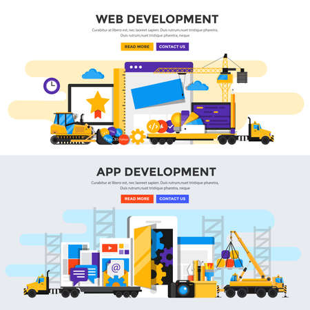 Set of Flat Color Banners Design Concepts for Application Development and Web Development. Concepts web banner and printed materials.Vector Illustration