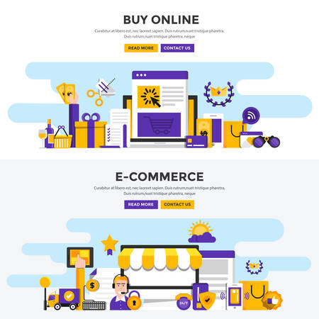 mobile communication: Set of Flat Design Color Banners Concepts for Buy Online and E-Commerce. Concepts web banner and printed materials. Vector Illustration