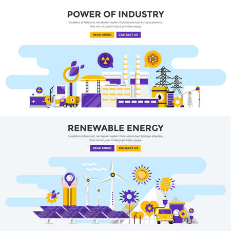 Set of Flat Design Color Banners Concepts for Power of Industry and Renewable Energy. Concepts web banner and printed materials. Vector Illustration