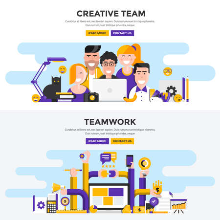 Set of Flat Design Color Banners Concepts for Creative Team and Teamwork. Concepts web banner and printed materials. Vector Illustration