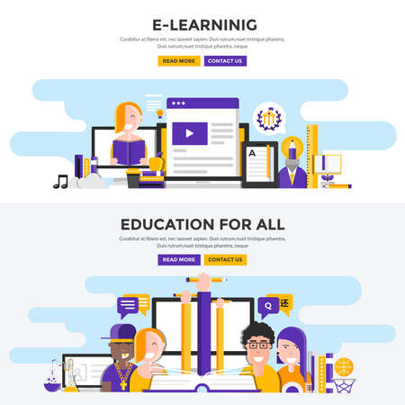 Set of Flat Design Color Banners Concepts for E-Learning and Education for all. Concepts web banner and printed materials. Vector Illustration Ilustração