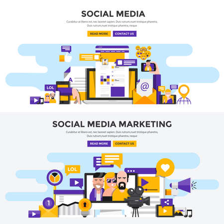 Set of Flat Design Color Banners Concepts for Social Media and Social Media Marketing. Concepts web banner and printed materials. Vector Illustration
