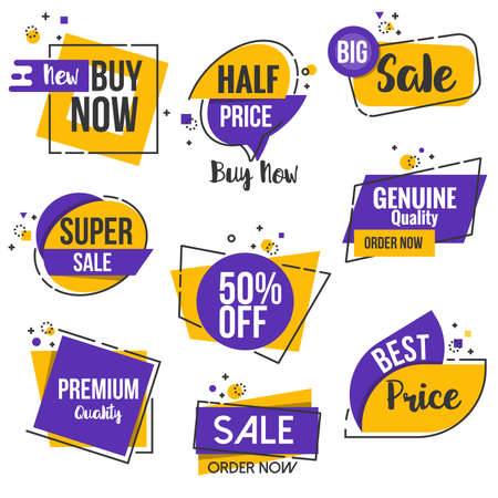 commerce: Collection of Sale Discount Styled origami Banners, Labels, Tags, Emblems. Flat outline design Vector illustration