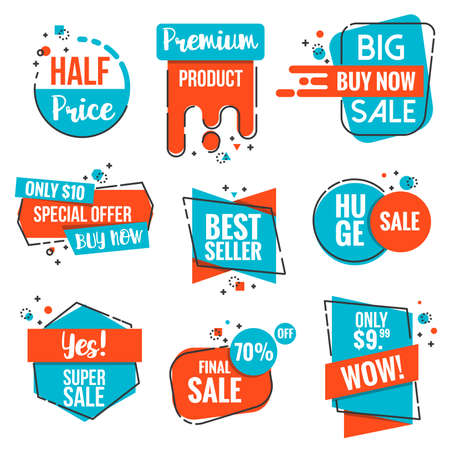 commerce: Collection of Sale Discount Styled origami Banners, Labels, Tags, Emblems. Modern Red and Blue color theme. Flat outline design Vector illustration