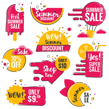 Collection of Sale Discount Styled origami Banners, Labels, Tags, Emblems. Yellow and pink summer color theme. Flat outline design Vector illustration
