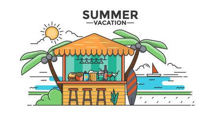 Moderno plano de línea delgada de imagen Hero, concepto de vacaciones, viaje y viaje a otros países, fácil de usar y altamente personalizable. Concepto moderno de la ilustración del vector, aislado en el fondo blanco.