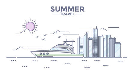 voyage: Modern flat thin line design Hero image, concept of travelling, journey, sailing and trip to other countries, easy to use and highly customizable. Modern vector illustration concept, isolated on white background.