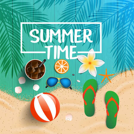 Summer time background. Top view on seashells, sun glasses, fresh cocktail, flip flops, beach ball, flowers and sea sand on wooden texture. Vector illustration.