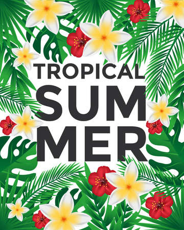 Poster Design with tropic leaves and flowers, can be used as Exotic wallpaper, Greeting card, poster, placard. Vector Illustration