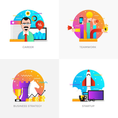 Modern flat color designed concepts icons for career, teamwork, business strategy and startup.