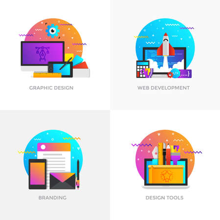 Modern flat color designed concepts icons for graphic design, web development, branding and design tools.