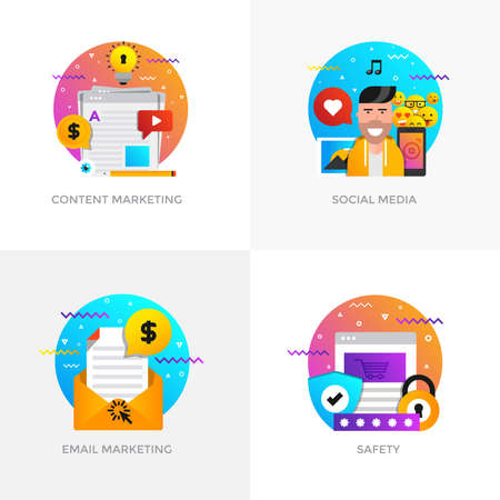Modern flat color designed concepts icons for content marketing, social media, email marketing and safety.