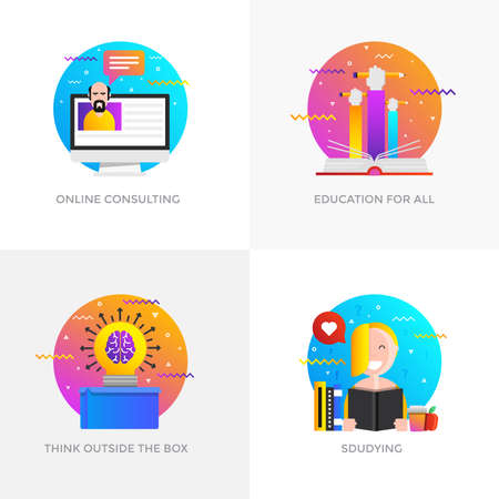 Modern flat color designed concepts icons for online consulting, education for all, think outside the box and studying.