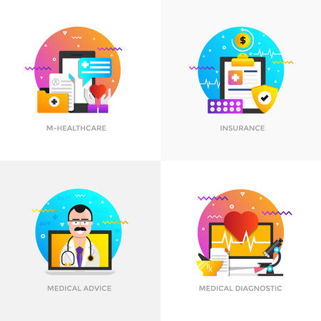 Modern flat color designed concepts icons for healthcare, medical advice and medical diagnostic.