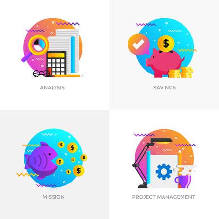 Modern flat color designed concepts icons for analysis, savings, mission and project management. Ilustração