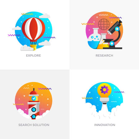 Modern flat color designed concepts icons for explore, research, search solution, innovation.