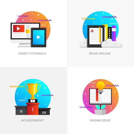 Modern flat color designed concepts icons for video tutorials, read online, achievement and knowledge. Illustration