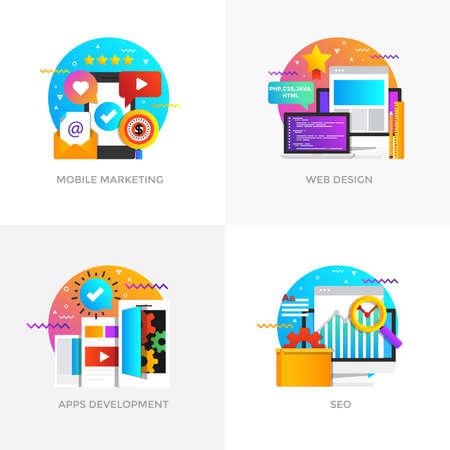Modern flat color designed concepts icons for mobile marketing, web design.