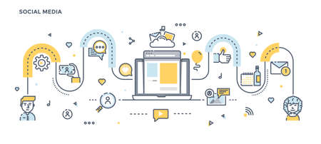 Moderne flache Linie Farbillustrations-Konzept für Social Media. Konzepte Web-Banner und gedruckte Materialien. Vektor-Illustration