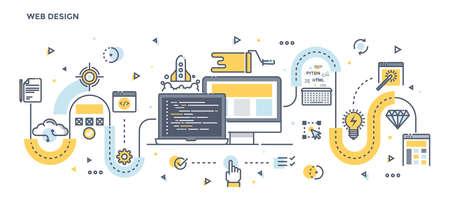 platforms: Modern Flat Line Color illustration Concept for Web Design. Concepts web banner and printed materials. Vector Illustration Illustration