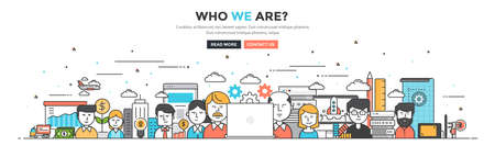Modern Flat Line Color hero image of Who we are for website and mobile website, easy to use and highly customizable. Modern vector illustration concept, isolated on white background. Illustration