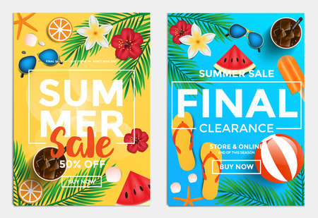 Summer Sale Flyer Template for websites and mobile websites. Can be used For Posters, Web Banners, promotion materials. Vector 向量圖像