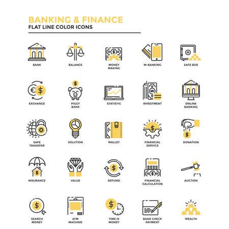 Conjunto de icono de línea plana moderna Concepto de banca y finanzas, inversión, valor, banca en línea, etc. uso en proyectos web y aplicaciones. Ilustración vectorial
