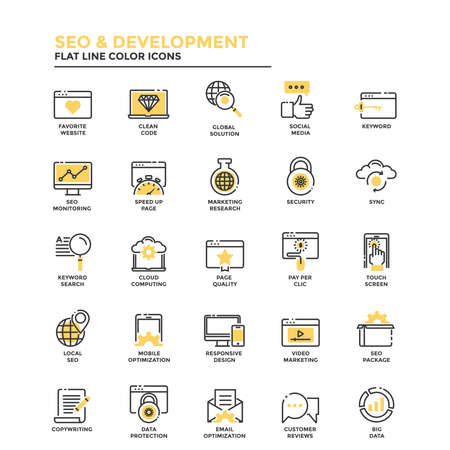 security monitor: Set of Modern Flat Line icon Concept of Seo,Development , Management, Online Marketing, Research and Analysis use in Web Project and Applications. Vector Illustration
