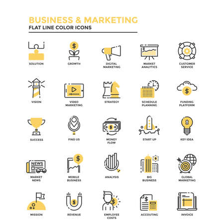 technology: Set of Modern Flat Line icon Concept of Business, Start up , Management, Online Marketing, Research and Analysis use in Web Project and Applications. Vector Illustration