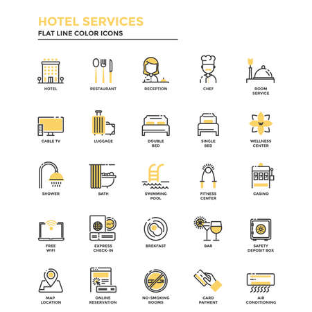 Set van moderne platte lijn pictogram Concept van Hotel Services gebruik in Web Project en toepassingen. Vector illustratie Stock Illustratie