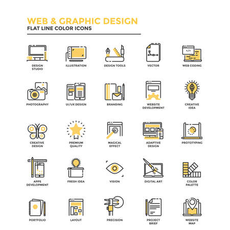 Modern flat design icons for Web and Graphic design, Illustration, Ui Design, Development, etc. Icons for web and app design, easy to use and highly customizable. Vector Banco de Imagens - 82766129