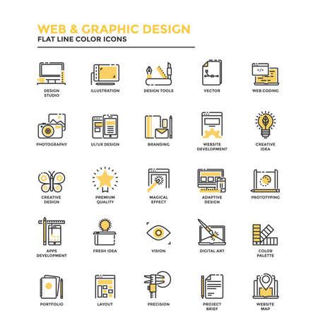 Moderne flache Designikonen für Netz und Grafikdesign, Illustration, Ui Design, Entwicklung, usw. Ikonen für den Netz- und APP-Entwurf, bedienungsfreundlich und in hohem Grade kundengerecht. Vektor
