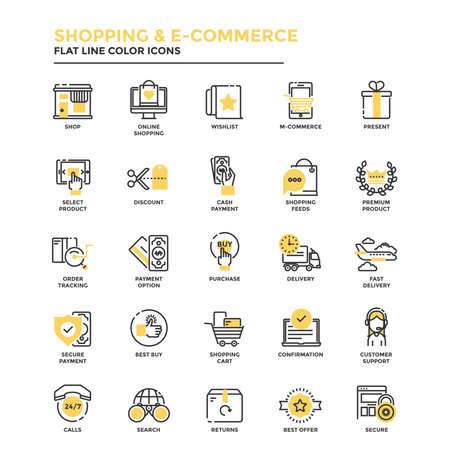 Conjunto de iconos de línea plana moderna Concepto de compras, comercio electrónico, m-comercio, entrega, uso en proyectos web y aplicaciones. Ilustración vectorial